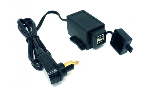 12v Twin USB Charger Cable With Right Angle DIN Plug