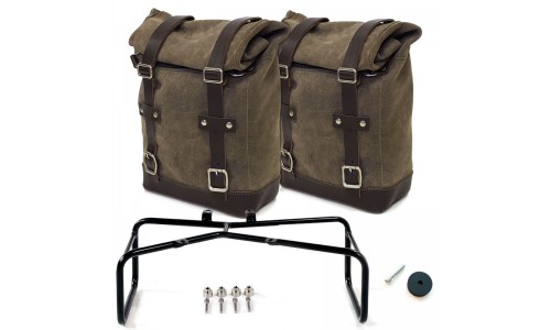 Twin Waxed Suede Panniers & Off Set Frame for BMW R NineT from Unit Garage